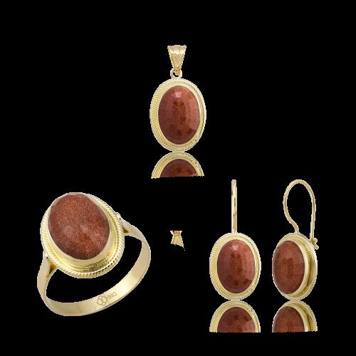Altın Burma Fasetli Kumtaş Üçlü Set