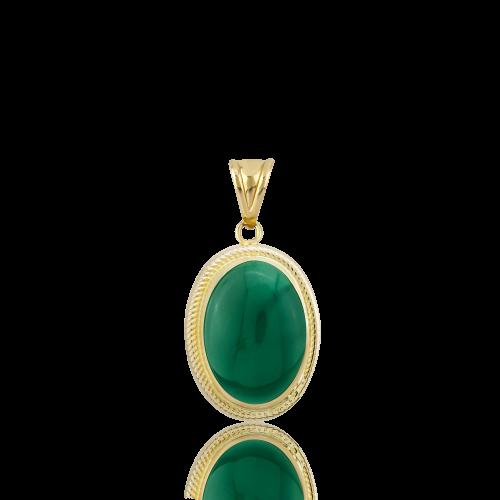 Altın Burma Yeşil Akik Kolye