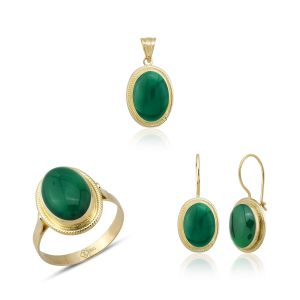 Altın Burma Yeşil Akik Üçlü Set