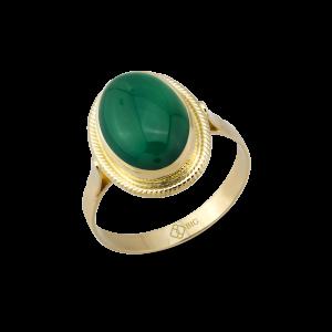 Altın Burma Yeşil Akik Yüzük
