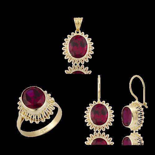 Altın Güverseli Yakut (Ruby) Renk Üçlü Set