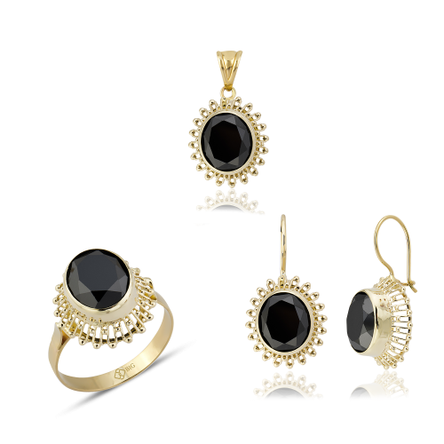 Altın Güverseli Siyah Renk Üçlü Set