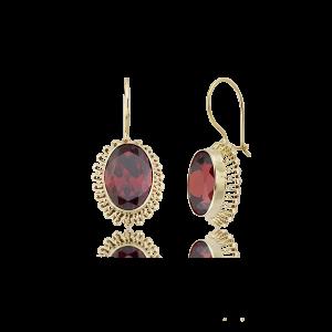 Altın Güverseli Garnet (Kırmızı) Renk Küpe