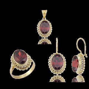 Altın Güverseli Garnet (Kırmızı) Renk Üçlü Set