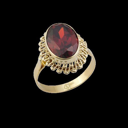 Altın Güverseli Garnet (Kırmızı) Renk Yüzük