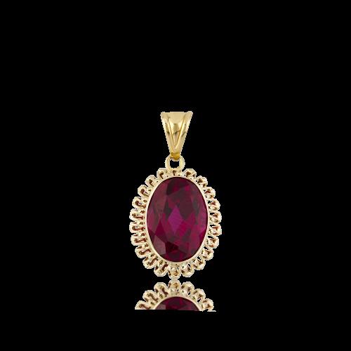 Altın Güverseli Yakut (Ruby) Renk Kolye