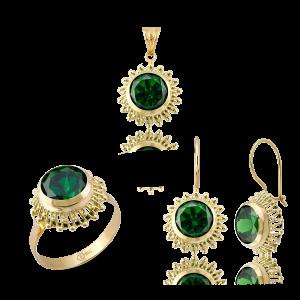 Altın Güverseli Zümrüt Yeşili Renk Üçlü Set