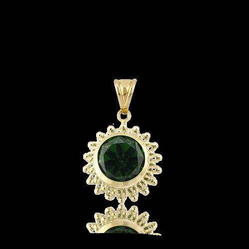 Altın Güverseli Zümrüt Yeşili Renk Kolye