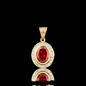 Altın Kanallı Garnet(Kırmızı) Renk Kolye