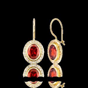 Altın Kanallı Garnet(Kırmızı) Renk Küpe