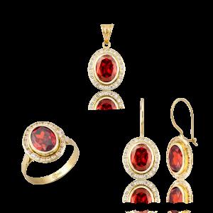 Altın Kanallı Garnet(Kırmızı) Renk Üçlü Set