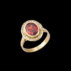 Altın Kanallı Garnet(Kırmızı) Renk Yüzük