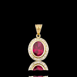 Altın Kanallı Ruby (Yakut) Renk Kolye