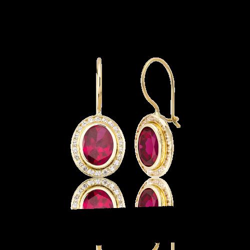 Altın Kanallı Ruby (Yakut) Renk Küpe