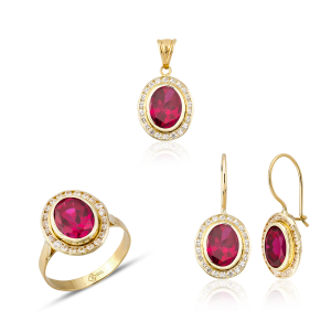 Altın Kanallı Ruby (Yakut) Renk Üçlü Set