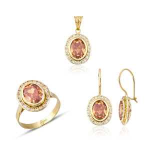 Altın Kanallı Şampanya Renk Üçlü Set