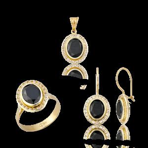 Altın Kanallı Siyah Renk Üçlü Set