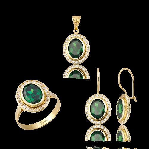 Altın Kanallı Zümrüt (Yeşil) Renk Üçlü Set