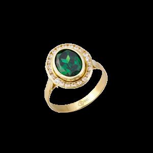 Altın Kanallı Zümrüt (Yeşil) Renk Yüzük