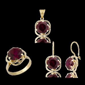 Altın Olimpiyat Ruby (Yakut) Renk Üçlü Set