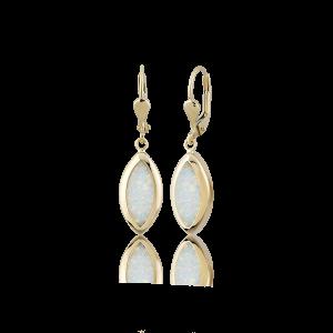 Altın Opal Taşlı Küpe