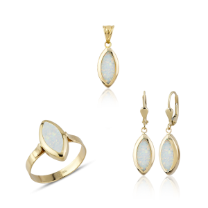 Altın Opal Taşlı Üçlü Set