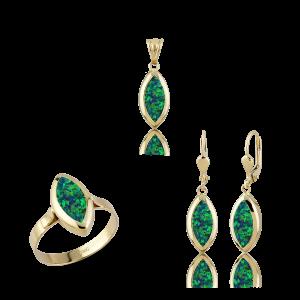 Altın Yeşil Opal Taşlı Üçlü Set