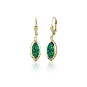 Altın Yeşil Opal Taşlı Küpe