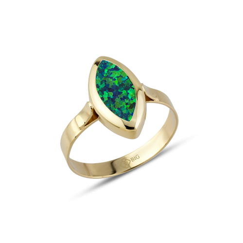 Altın Yeşil Opal Taşlı Yüzük
