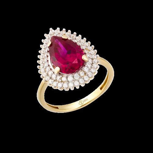 Altın Hürrem Ruby (Yakut) Renk Yüzük