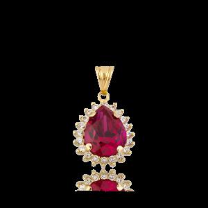 Altın Mini Hürrem Ruby (Yakut) Renk Kolye
