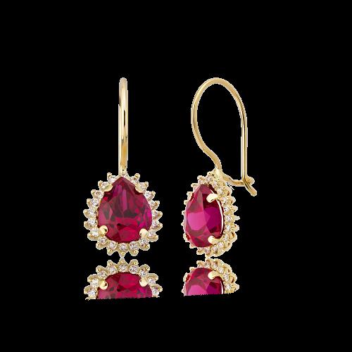 Altın Mini Hürrem Ruby (Yakut) Renk Küpe