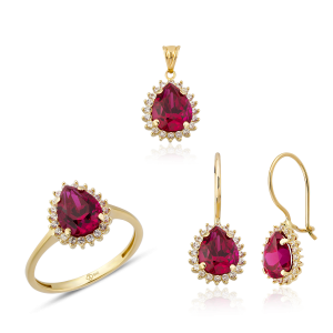 Altın Mini Hürrem Ruby (Yakut) Renk Üçlü Set