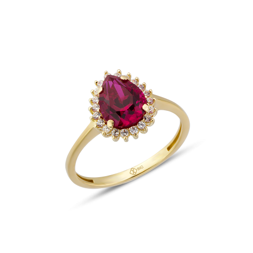 Altın Mini Hürrem Ruby (Yakut) Renk Yüzük