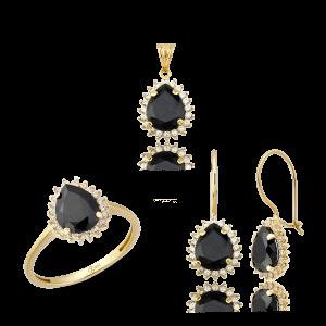 Altın Mini Hürrem Siyah Renk Üçlü Set