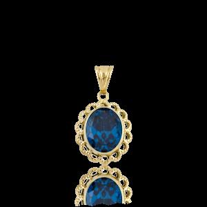 Altın Telkari Aqua Marine (Mavi) Renk Kolye