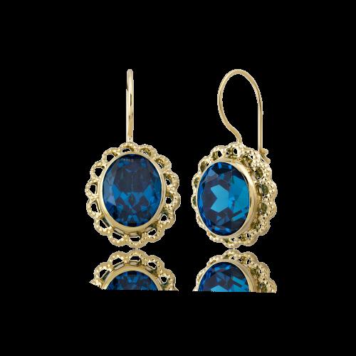 Altın Telkari Aqua Marine (Mavi) Renk Küpe