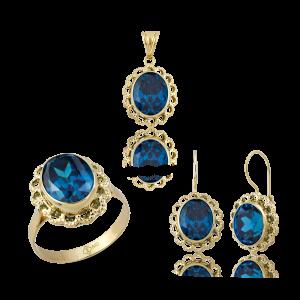 Altın Telkari Aqua Marine (Mavi) Renk Yüzük