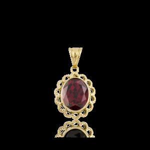 Altın Telkari Garnet (Kırmızı) Renk Kolye