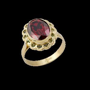Altın Telkari Garnet (Kırmızı) Renk Yüzük