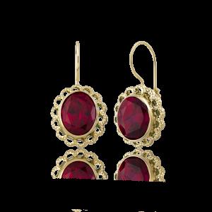 Altın Telkari Yakut (Ruby) Renk Küpe