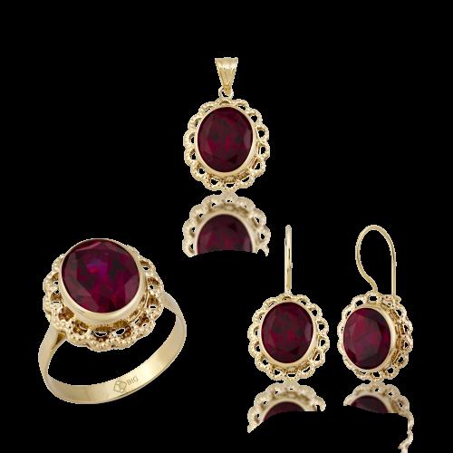 Altın Telkari Yakut (Ruby) Renk Üçlü Set