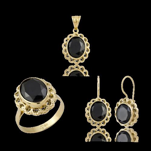 Altın Telkari Siyah Renk Üçlü Set