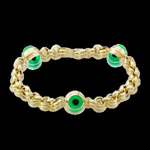 Altın 3 Gözlü Yeşil Renk Doch Bileklik