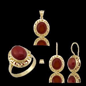 Altın Grek Akik Taş Üçlü Set