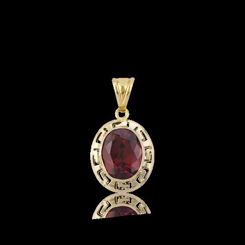 Altın Grek Garnet (Kırmızı) Renk Kolye