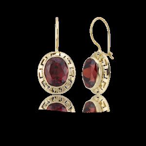 Altın Grek Garnet (Kırmızı) Renk Küpe