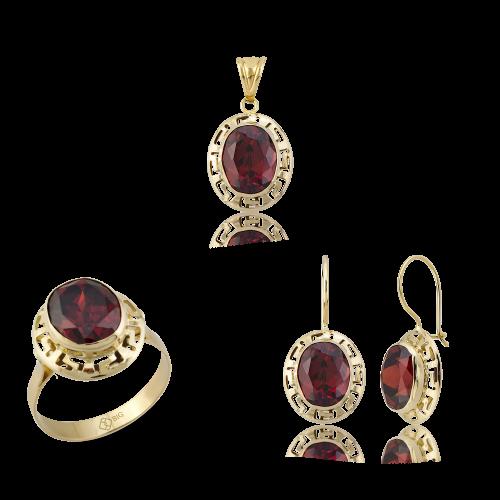 Altın Grek Garnet (Kırmızı) Renk Üçlü Set