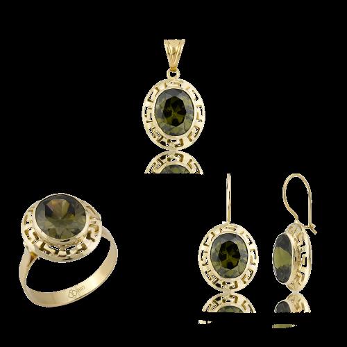 Altın Grek Olive Yeşili (Zeytin) Renk Üçlü Set