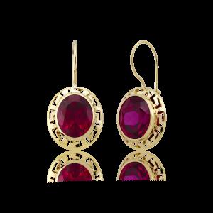 Altın Grek Yakut (Ruby) Renk Küpe